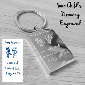 Children's Drawing Engraved Keyring
